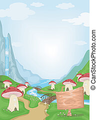 Mushroom Village - Illustration Featuring a Fancy Mushroom...