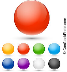 Realistic spheres - Vector set of multicolored glass...