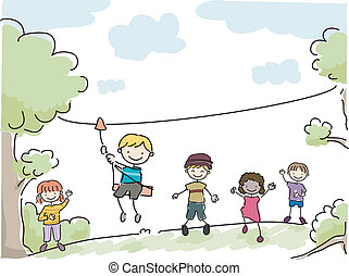 Yard Zipline - Illustration Featuring Kids Riding an...