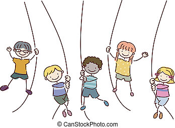 Rope Swing - Illustration Featuring Kids Holding on to Ropes