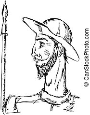 Don Quixote - hand drawn, doodle illustration of Don Quixote