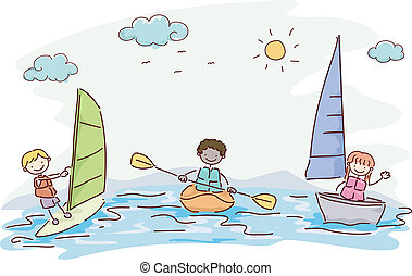 Water Sports - Illustration Featuring Kids Trying Out...