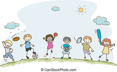 Kiddie Sports - Illustration Featuring Kids Playing...