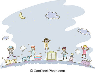 Slumber Party - Illustration Featuring Kids in Sleepwear...