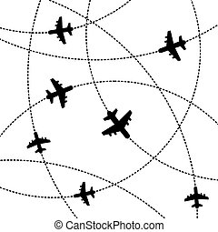Airplanes Background with Trajectory Vector - Airplanes...