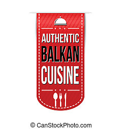 Authentic balkan cuisine banner design over a white...