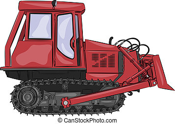 vector caterpillar tractor red isolated on white background