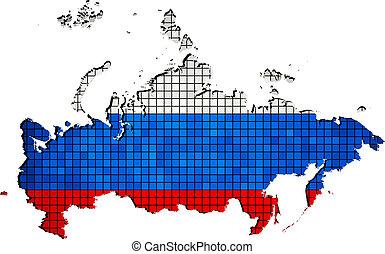 Russia map grunge mosaic
