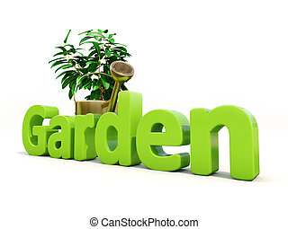 Gardening - Garden, watering can and plant on white...