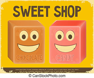 Sweet Shop - Sweet Card Candy Shop Poster Template Vector...