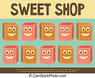 Sweet Shop - Sweet Retro Card. Candy Shop Poster Template....
