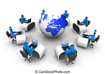 Teamwork concept, people working around world