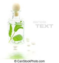 Jar with fresh leaves (SPA concept) with soft focus...