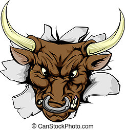 Bull charging through wall - A bull sports mascot or...