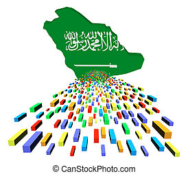 Saudi Arabia map flag with containers illustration