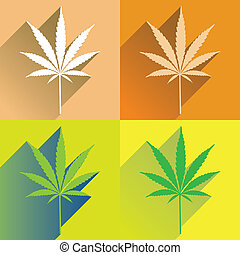 four cannabis leaf in flat style,  illustration
