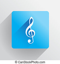 G clef icon in flat style