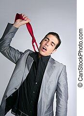 Businessman break finish work take off tie - Businessman...