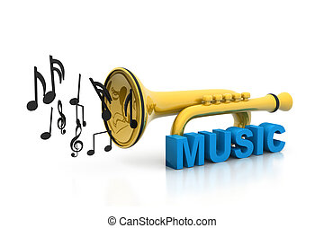 Music notes with  trumpet, music concept