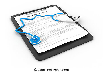 Stethoscope on clipboard and patient medical history