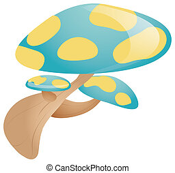 mushroom - Cartoon Mushroom  isolated in a white background
