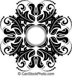 Orient vector ornamental round lace with damask and...