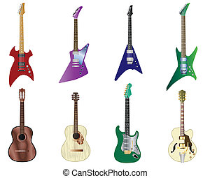 color guitars set - Set of full color acoustic and electro...