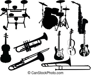 set of musical instruments - Set of different stringed, wind...