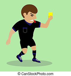 Soccer referee giving yellow card - football judge hand with...