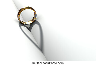 Wedding Ring Book - Wedding ring casting a heart-shaped...