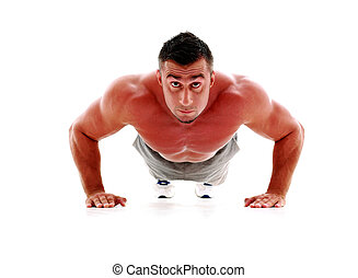 Muscle man making push ups in studio, isolated over a white...