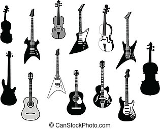 Guitars silhouettes - Set of detailed vector silhouettes...