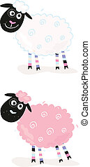 Cartoon sheep - Vector Illustration of funny sheep In 2...