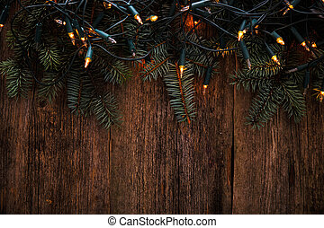 Christmas Fir with garland on the table - Christmas, New...