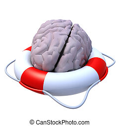 brain in a lifesaver 3d illustration