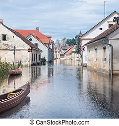 Flooded street - Rural village houses in floodwater. Road...