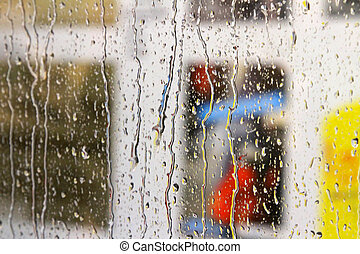 fenêtre, volets, couvert, pluie