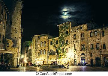 San Gimignano at night. Tuscany, Italy.