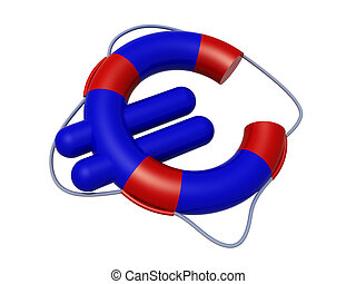 euro symbol like lifebuoy, low cost travel concepts, 3d...