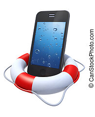 smartphone in a lifebuoy