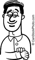 happy man cartoon coloring page - Black and White Cartoon...