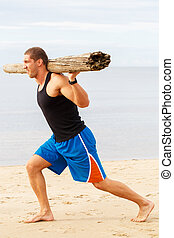 Fitness on the beach - Sport, fitness. Bodybuilder with a...