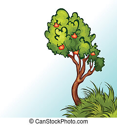 Vector illustration of apple tree