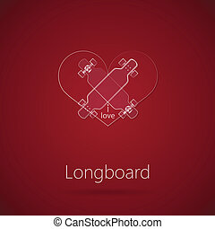 Abstract vector illustration of love to longboard -...