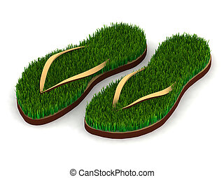 two sandals with green grass on sole, 3d illustration