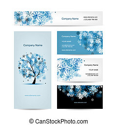 Business cards design, winter tree