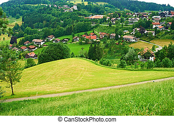 Bavarian landscape at Alps with village - Bavarian landscape...