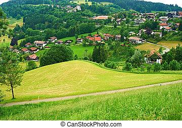 Bavarian landscape at Alps with village - Bavarian landscape...
