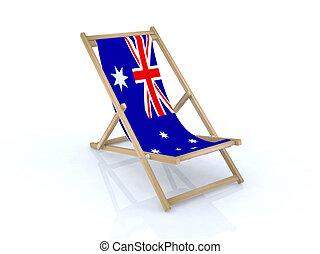 wood beach chair with australian flag