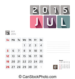2015 Calendar Calendar Vector Design July - 2015 Calendar...